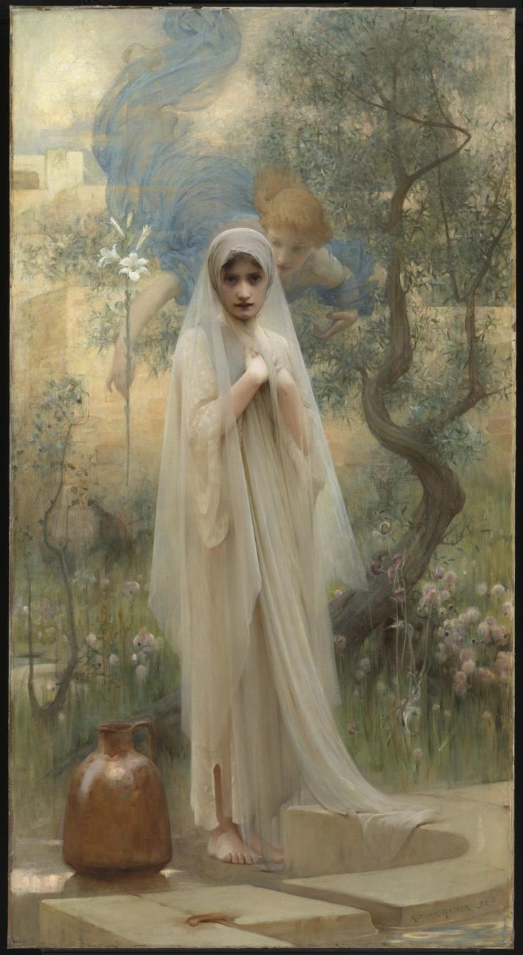 "Arthur Hacker (1858-1919). The Annunciation, 1892. Oil on canvas, 91"" x 49.5"" (231 x 126cm), at the Tate, London."