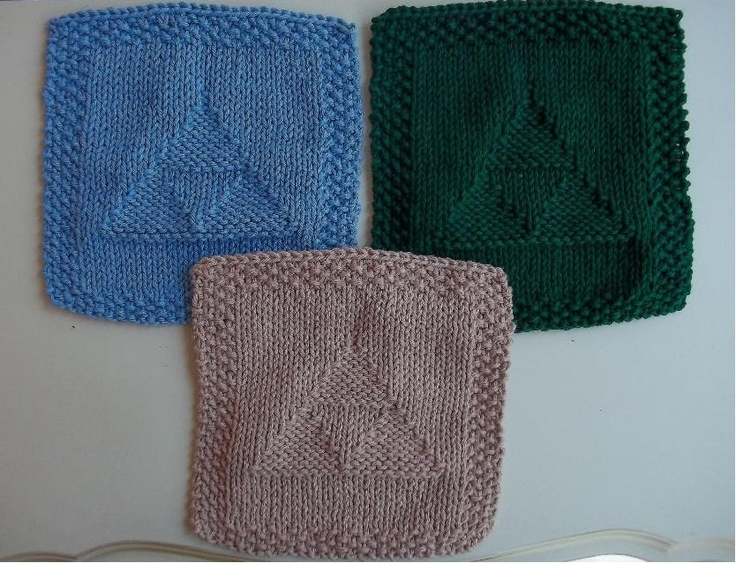 Legend Of Zelda Knitting Pattern : Legend of zelda cotton dishcloths knitted triforce set