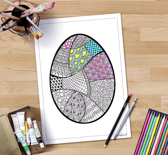 17 ostern pinterest zentangle easter egg coloring page available for instant download perfect for adult coloring and diy negle Image collections