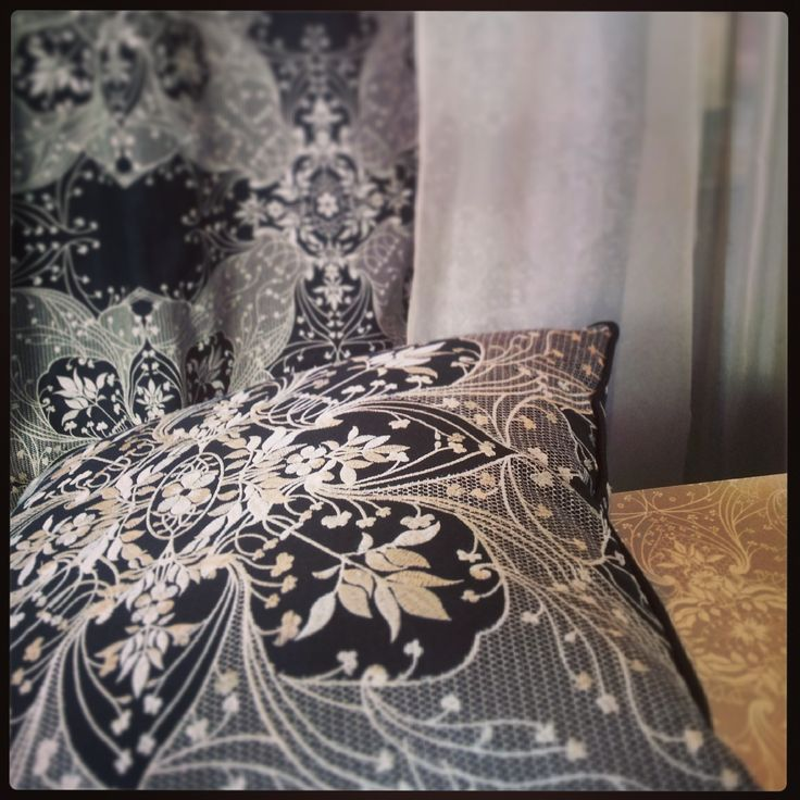 """Catherine Martin """"Antique Lace"""" Curtain, Cushion and Wallpaper.   www.lahood.co.nz"""