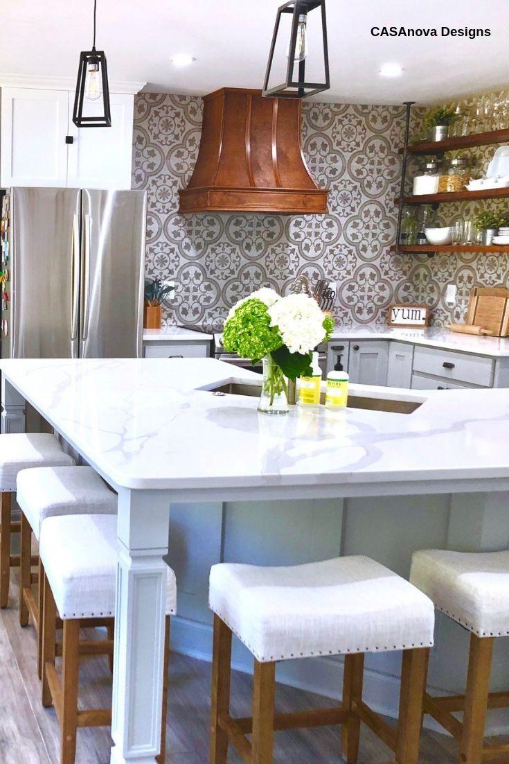 9x9 Room Design: Cascais Silver Ornate 9x9 Matte Porcelain Tile