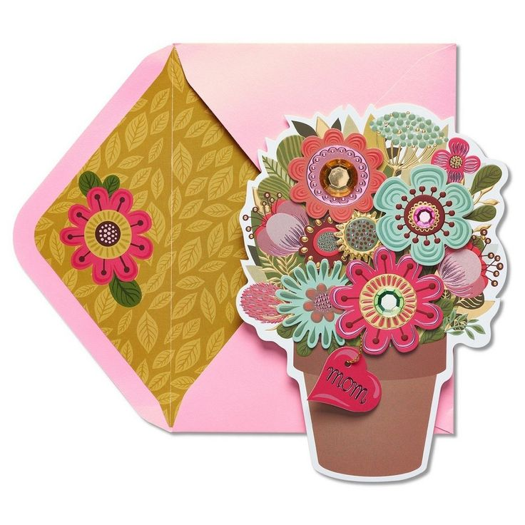 papyrus flower pot mother's day card with gems  best