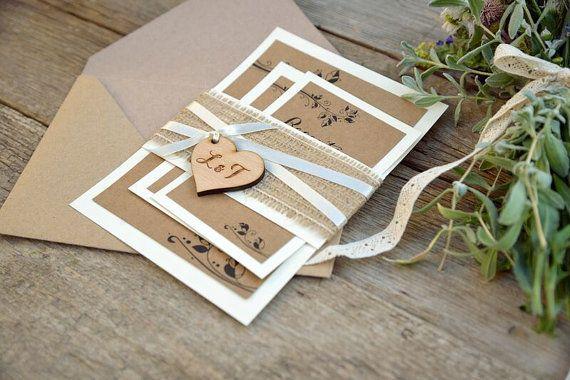 Rustic Wedding Invitations with Wood Tag, Wedding Invitation Suite with Burlap, Rustic Burlap Wedding Invitations, Set of 20