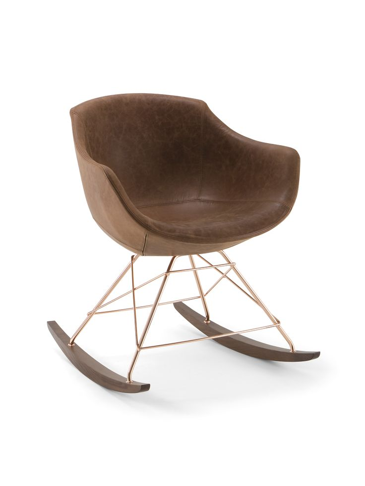 Rocking armchair Colimbas 1610 B42D with leather, by Cizeta