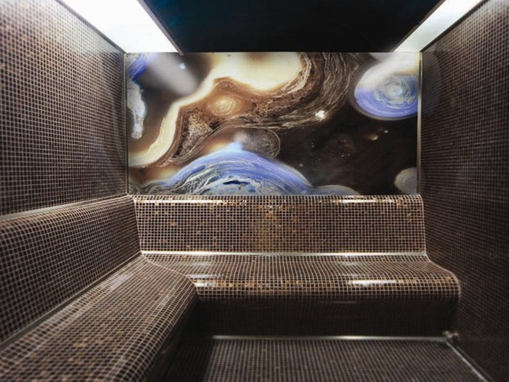 A steam room that uses decorative materials from Fameed Khalique, who sources unusual surfaces such as preciousmetal- infused glass