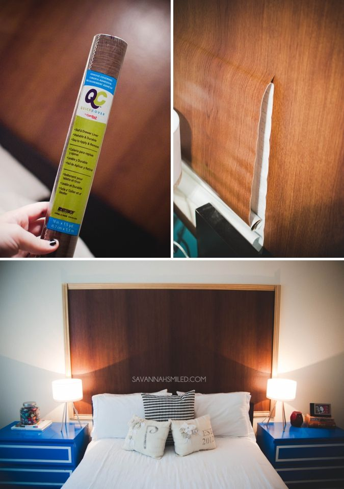 Use contact paper from the @Dollar Tree to create a beautiful new wooden headboard. | H O M E