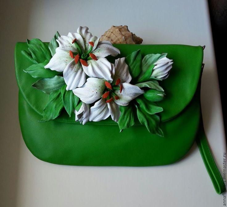 Купить Клатч с лилиями - клатч из натуральной кожи, лилия из кожи, клатч с цветами, сумочка из кожи