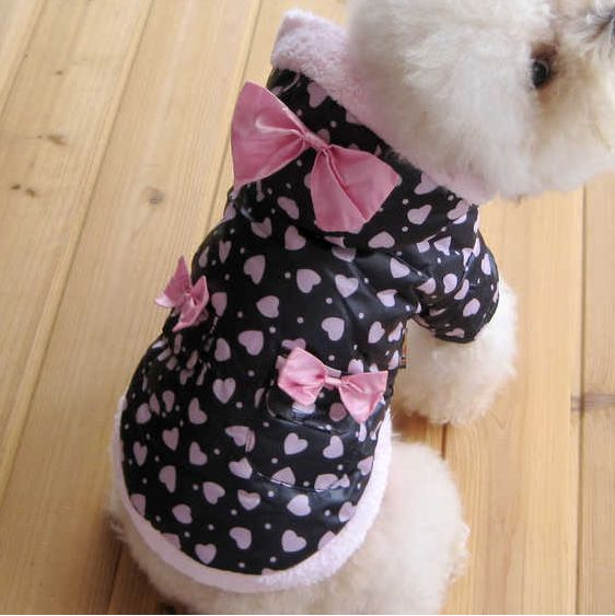 New Winter Coat Cute Pink Butterfly Tie Dog Warm Clothes Dog Apparel Size 4 6 | eBay