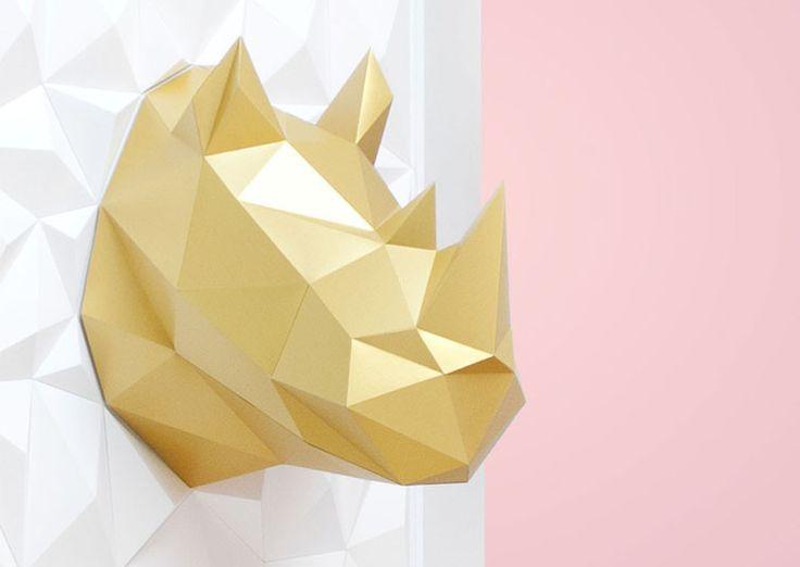 Trophée origami Rhinocéros doré