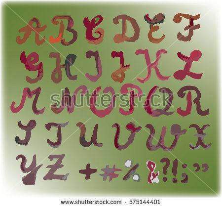 Painted #vintage #alphabet with #capital hand drawn #letters and #punctuation, on dark green background