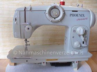 Phoenix 383 Automatic, mit 3 Schablonen-Blöcken, Flachbett mit Einbaumotor (75W), Schranknähmaschine, kein Fußantrieb, Hersteller: Anker Phoenix Nähmaschinen AG, Bielefeld (Bilder: I. Naumann)