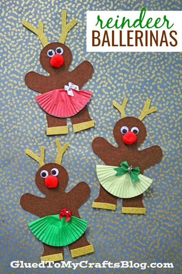 Gingerbread Reindeer Ballerina Friends - Christmas Kid Craft paper