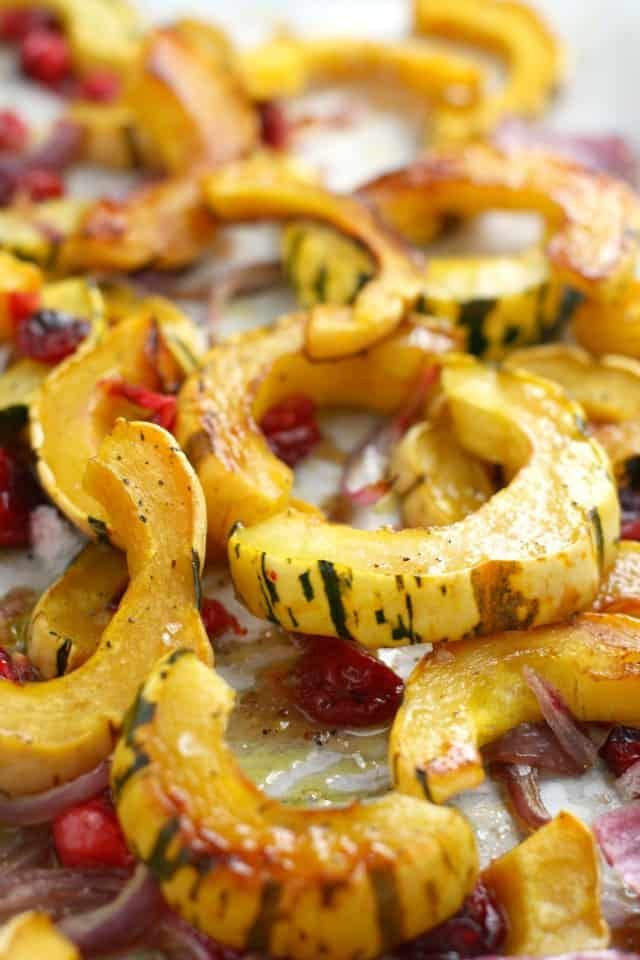 Roasted Delicata Squash with Fresh Cranberries