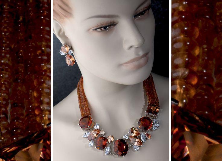 Necklace and earrings designed and made for award winning South African opera singer Hlengiwe Mkhwanazi who is a third year member of the Lyric Opera in Chicago, USA. These pieces were designed to show up well in performances- just imagine the music they have heard! Citrines, cubic zirconias and manderin garnet beads.© Kristen Malan 2016