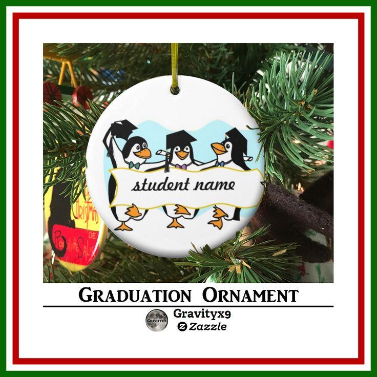 Graduation Penguins Ceramic Ornament by #Just4grad ~ #Gravityx9 Designs at Zazzle - #graduationornament #christmasornament #penguinornament #graduation #grad #gradgift