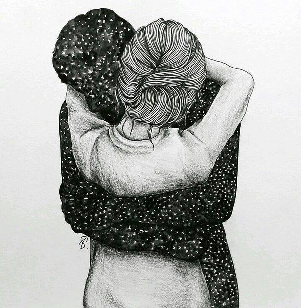 art, creative, cute couple, drawing, hug