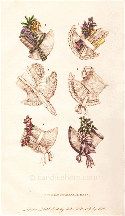 """""""Parisian Hats: No. 1 represents straw hats, some having coloured silk crowns, some tied à la Marmotte, with silk or lace half handkerchiefs or with ribband; all ornamented with flowers formed of Indian corn and chicory, lilac intermingled with roses, or vine leaves intermingled with maiden hair. ..."""""""