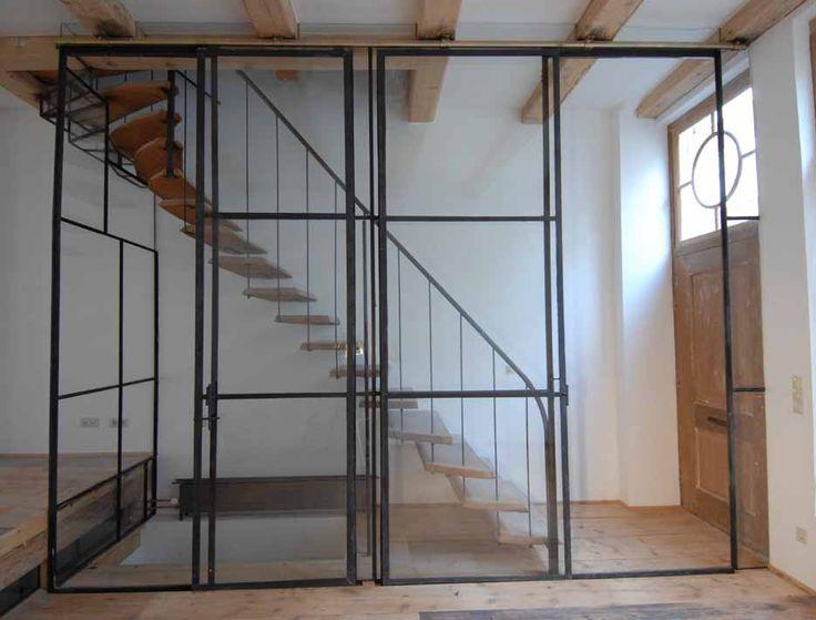 Wand, schuifdeuren, trappenhuis, glas_staal