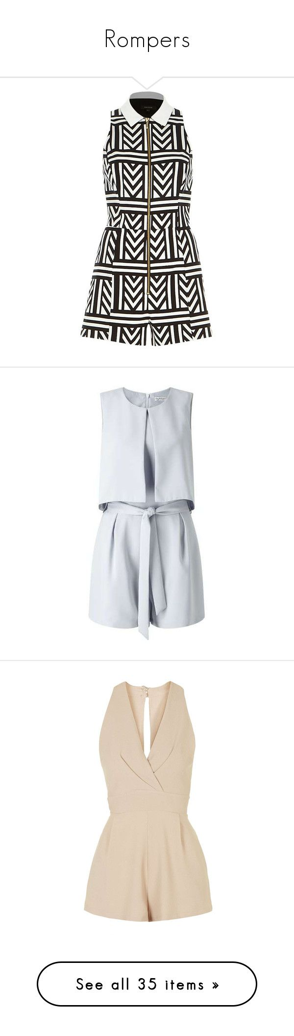 """""""Rompers"""" by cc-clarke ❤ liked on Polyvore featuring jumpsuits, rompers, dresses, playsuits, playsuit romper, romper jumpsuit, playsuit jumpsuit, jump suit, river island and shorts"""