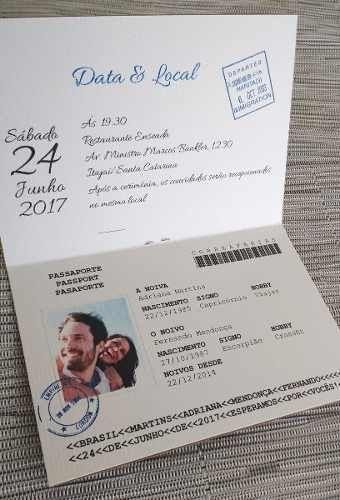 convite casamento criativo passaporte aniversario (10 unid.)