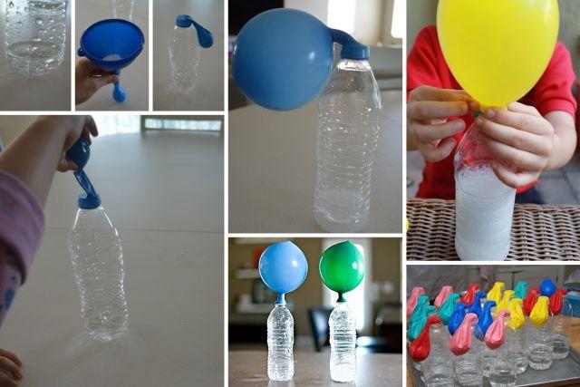 Expérience avec une bouteille de plastique et un ballon gonflable (et quelques autres ingrédients bien sûr!)