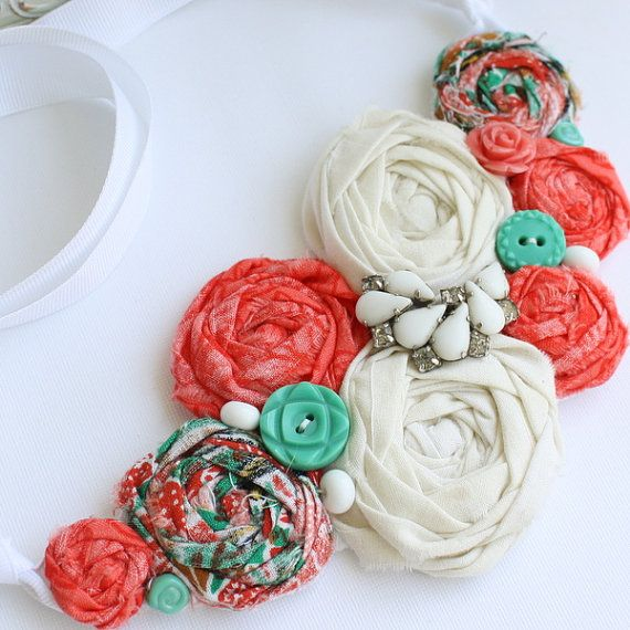 Fabric Rosette Bib Necklace ASIA Statement or Wedding Piece Medium Turquoise and Coral