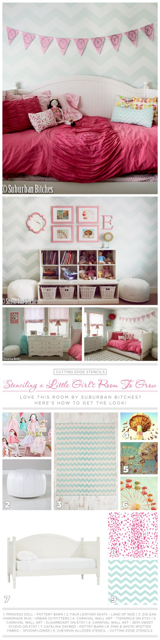 Steal the look of this Chevron Allover stenciled little girl's room. http://www.cuttingedgestencils.com/chevron-stencil-pattern.html