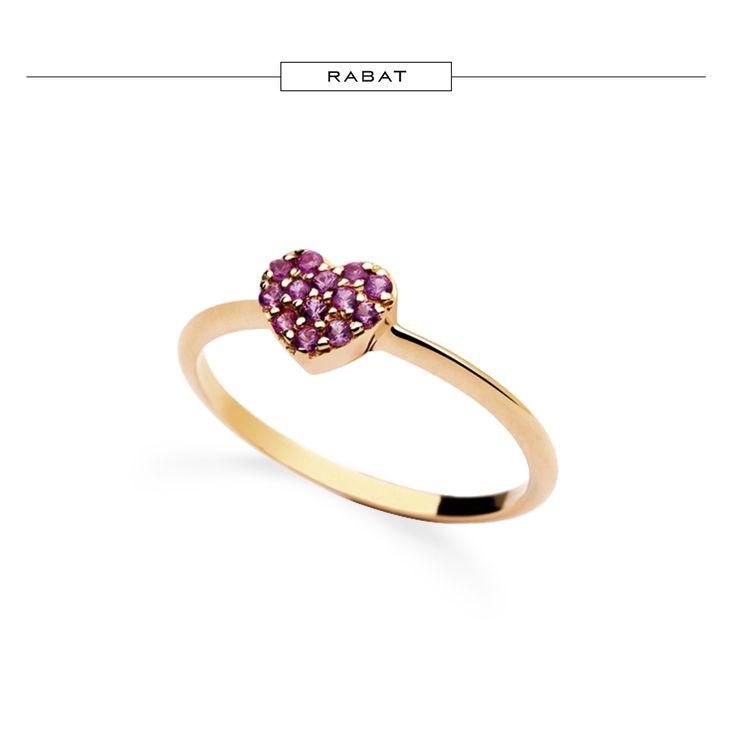 anillo de oro rosa con corazn de zafiros rosas rabatjewels rabatjoyas jewelry