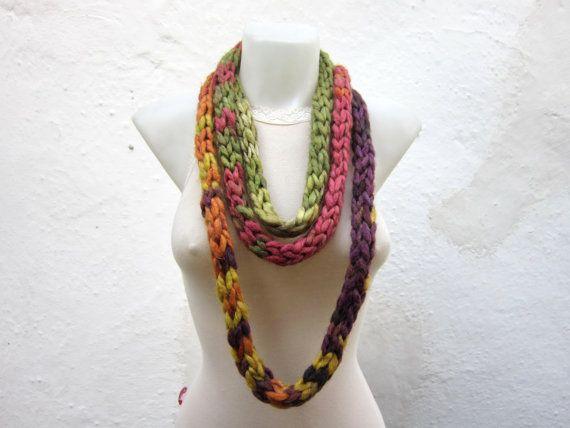 Crochet Scarf infinity Green yellow orange Necklace by nurlu,