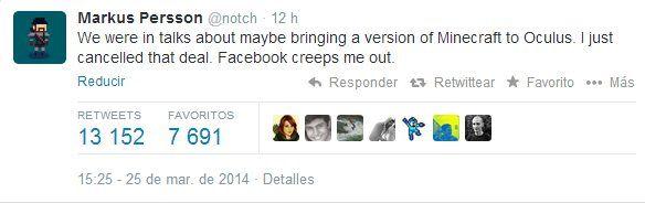 Notch decide cancelar versión de Monecraft para Oculus al saber que la compró Facebook