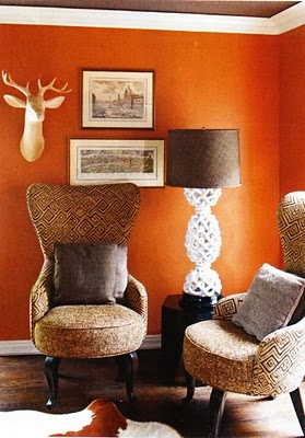 Orange living rooms living room walls and orange walls on - Burnt orange paint for living room ...