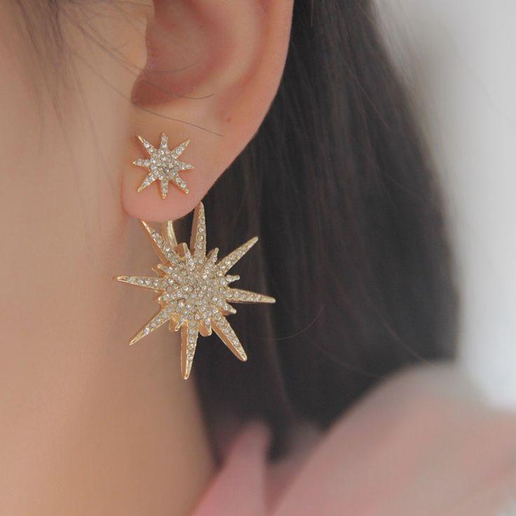 New Hot 1 PCS plaqué or étoiles strass cristal Dangle boucle d'oreille boucles d'oreilles boucles d'oreilles pour les femmes accessoires livraison gratuite