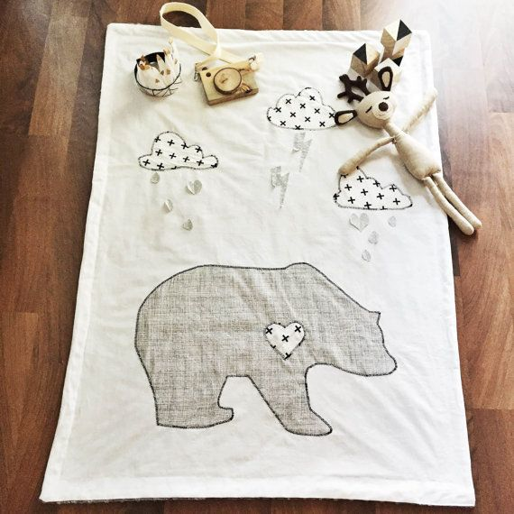 Bear Baby Blanket - Woodland Nursery Crib Quilt. Adorable statement piece blanket for a bear, woodland, mountain, forest nursery! Love the monochrome gray and white / black and white. By SleepingLakeDesigns on Etsy.