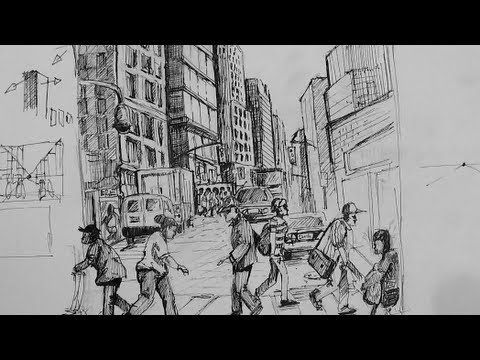 ▶ Pen & Ink Drawing Tutorials | How to draw a busy city Scene - YouTube