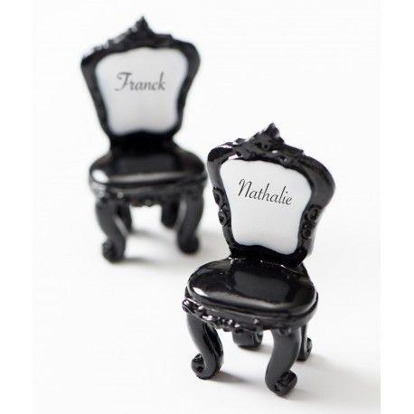 Marque place invités chaise boudoir baroque noir et blanc