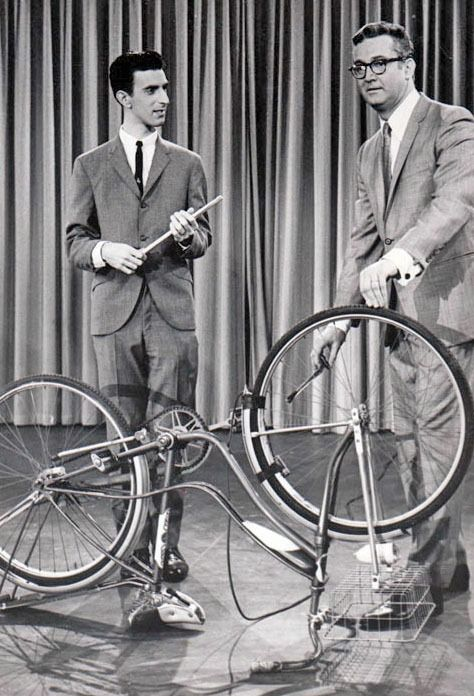 Frank Zappa playing the bicycle on Steve Allen Show, 1963