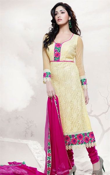 Picture of Classy Cream Color Indian Salwar Kameez