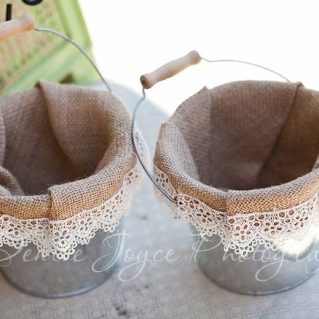 Buckets. I think it's cuter then the baskets. Seems easy to make!