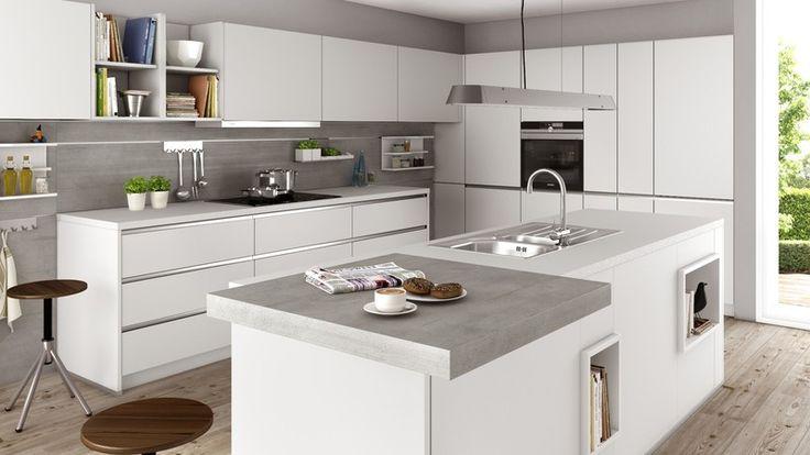Schüller Küche, Kristallgrau / Beton Naturgrau Nachbildung