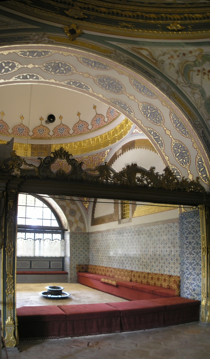 """The Imperial Council (Dîvân-ı Hümâyûn) building is the chamber in which the ministers of state, council ministers (Dîvân Heyeti), the Imperial Council, consisting of the Grand Vizier (Paşa Kapısı), viziers, and other leading officials of the Ottoman state, held meetings. It is also called Kubbealtı, which means """"under the dome"""", in reference to the dome in the council main hall. It is situated in the northwestern corner of the courtyard next to the Gate of Felicity."""