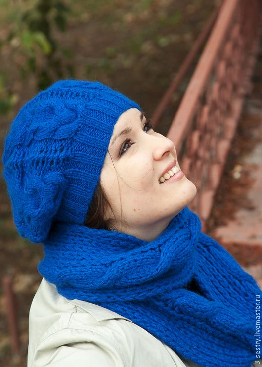 Купить Шапка берет женская шарф труба синий (голубой, бирюзовый, небо, море) - синий