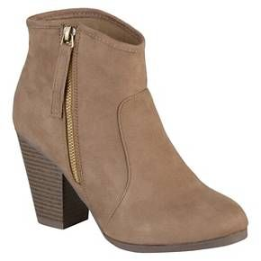 Women's Journee Collection Link Faux Suede Ankle Boots - Taupe 7 : Target