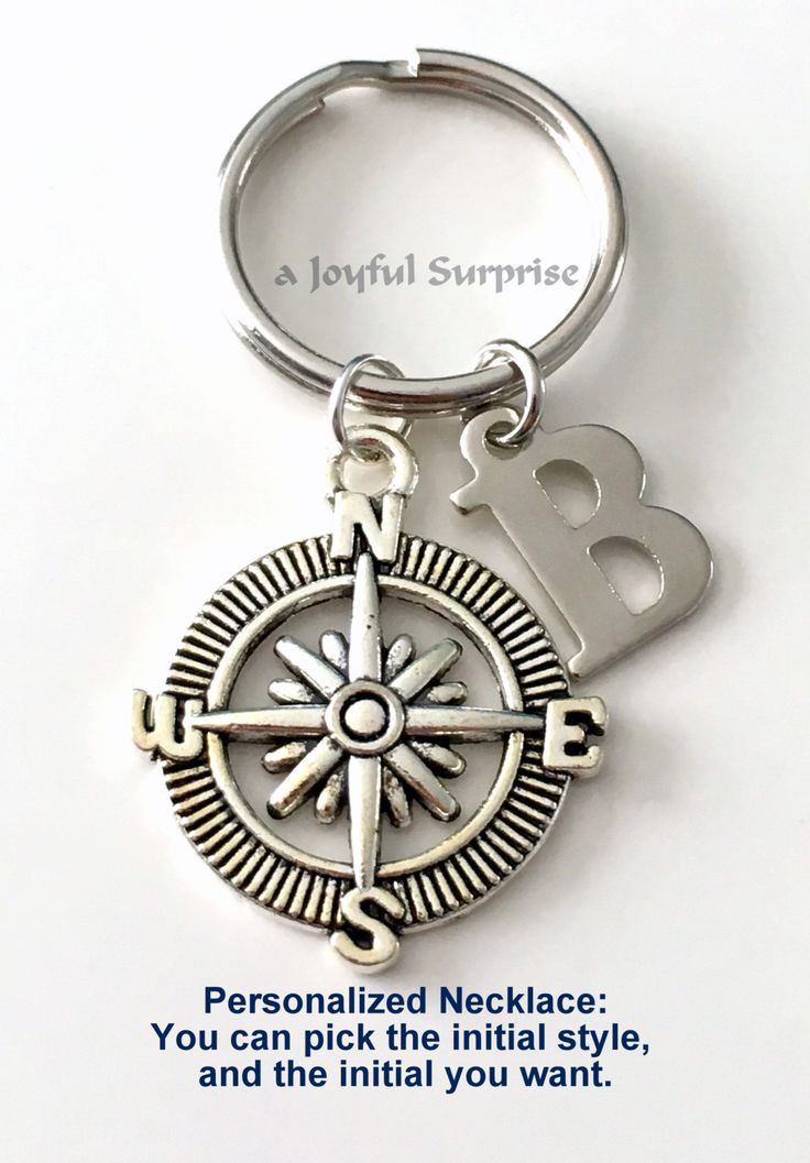 Silver Compass Keychain, Custom Compass Keyring, Key Chain, Gift for Hiker Gifts, Climbers Gift, Gift for Traveler Letter initial keychain by aJoyfulSurprise on Etsy