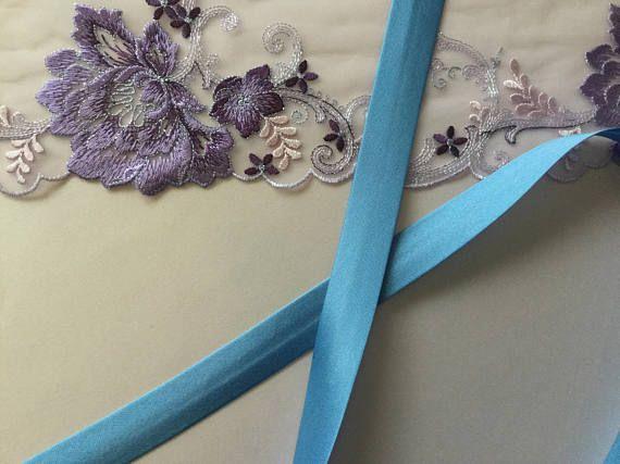 Copenhagen Blue Polyester Satin Bias Binding  Single Fold