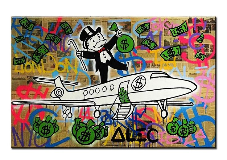 Awesome Fly Alec monopoly Graffiti mr brainwashart print canvas for wall art decoration No framed 40x50cm