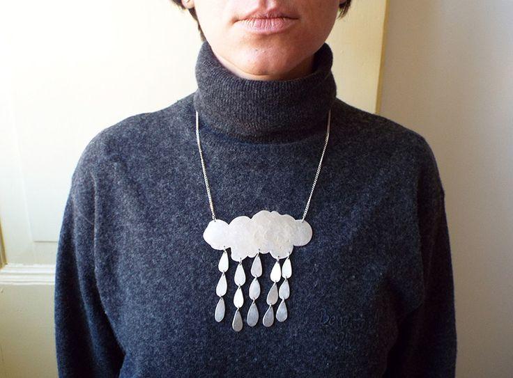 Collane con pendenti - Collana nuvola e pioggia  - un prodotto unico di LaboratorioIndie su DaWanda