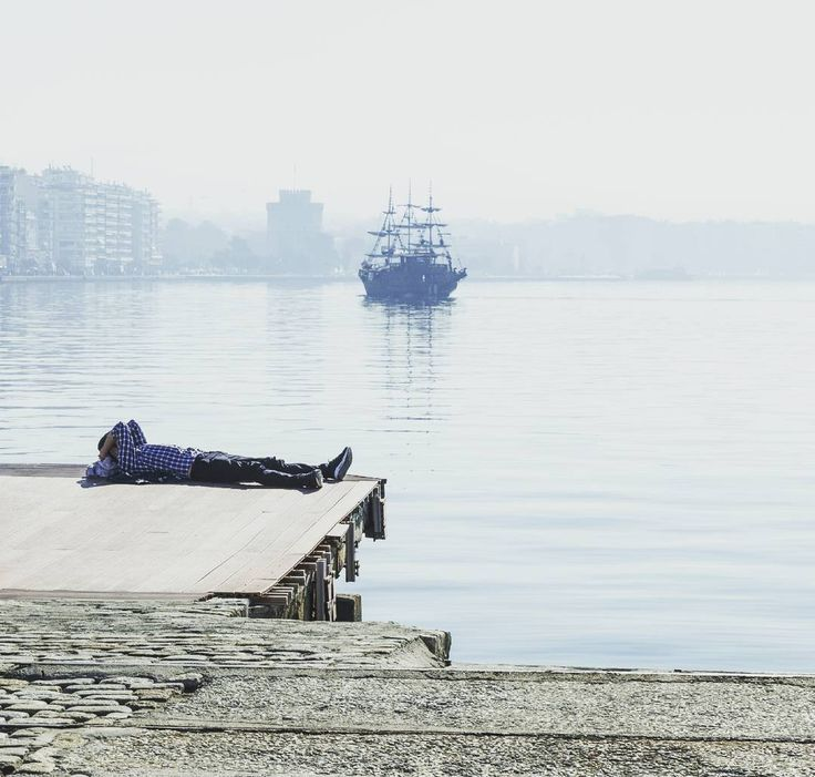 Lazy morning - doing it in Greek style. #lazymorning #greekstyle #greece #port #thessaloniki #pier