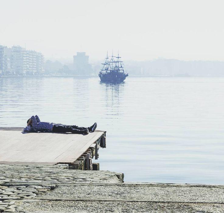 Lazy morning - doing it in Greek style. #lazymorning #greekstyle #greece #port #thessaloniki #pier