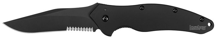 Kershaw Black Shallot Knife with Tungsten DLC Black coating on Blade & Handle and Partially Serrated Blade. Made in the USA. DLC coating-Handle: 410 stainless steel. DLC coating-Blade length: 3.5 in. (8.9 cm)-Closed length: 4.4 in. (11.1 cm)-Overall length: 7.9 in. (20 cm)-Weight: 4.2 oz. (119 g). Kershaw's black shallot features a partially serrated blade of sandvik 14C28N stainless-steel with tungsten DLC black coating. Specifications: steel: sandvik 14C28N stainless-steel with tungsten...