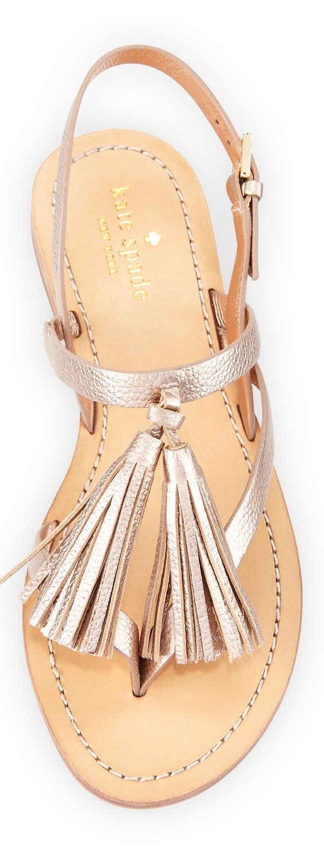 R ose gold flat tassel sandals